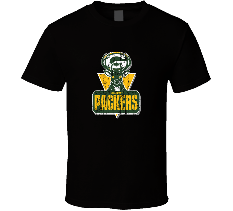 Green Bay Packers and Milwaukee Bucks Combined Logo Distressed T Shirt
