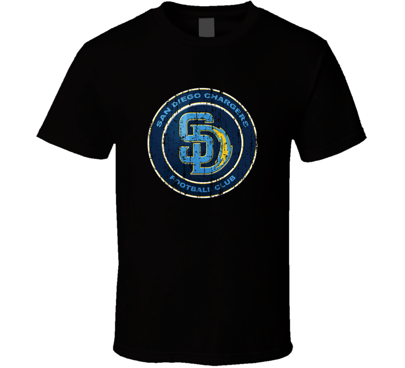 San Diego Chargers and San Diego Padres Combined Mash-up Distressed Logo T Shirt
