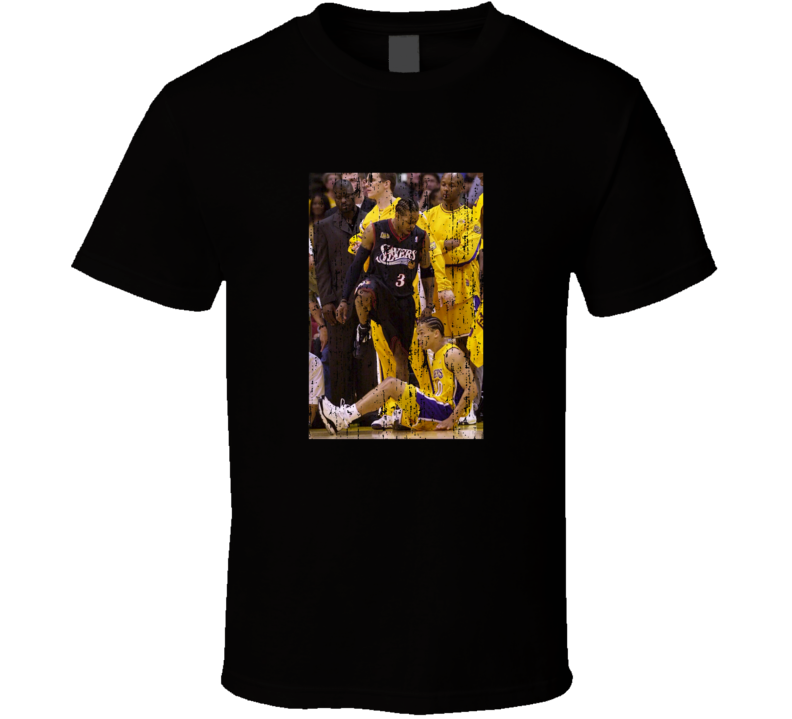 Allen Iverson Steps over Tyronn Lue Distressed T Shirt