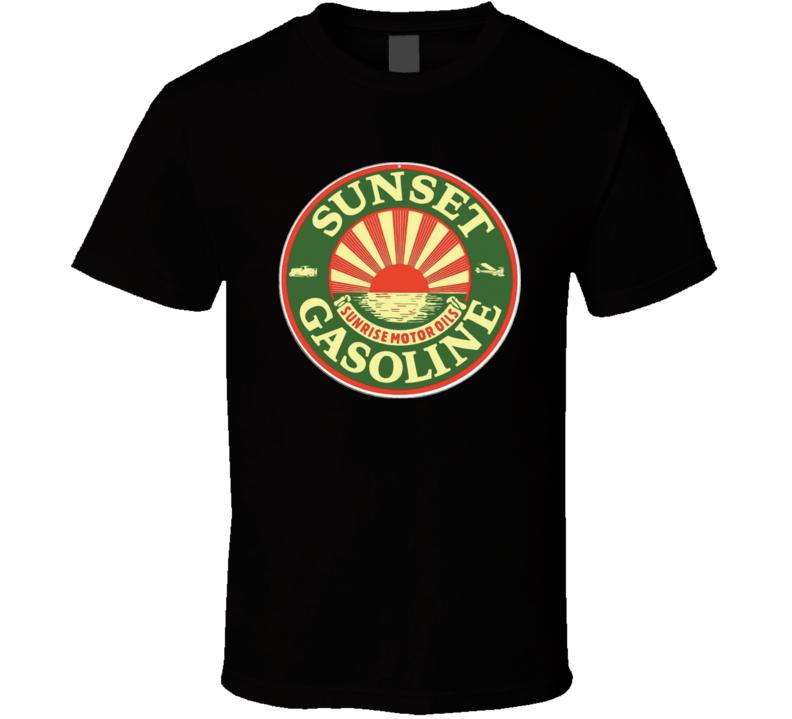Sunset Gasoline Sunrise Motor Oils Gas Station Fan T Shirt