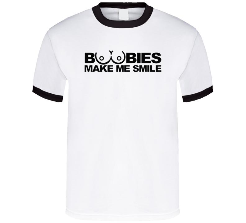 Boobies Make Me Smile Funny Adult Humor Fan T Shirt