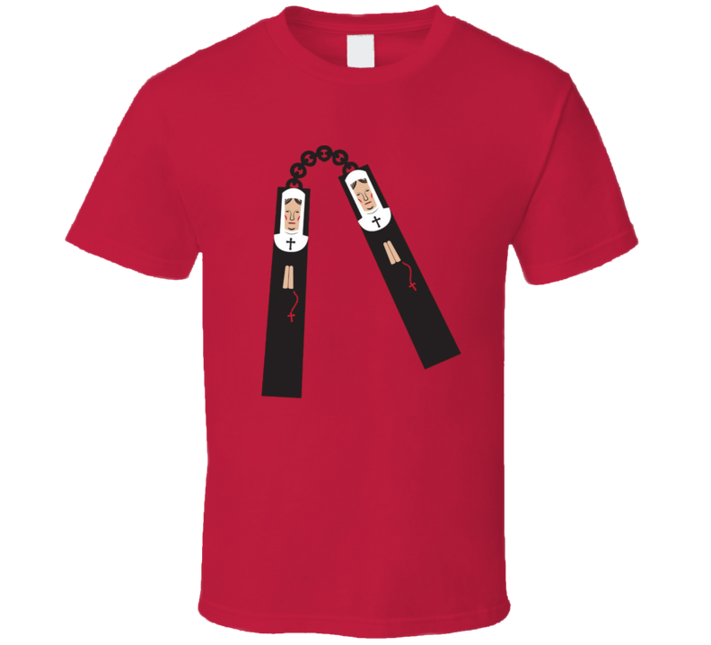 Nunchucks Funny Nuns Catholic Christian Karate T Shirt