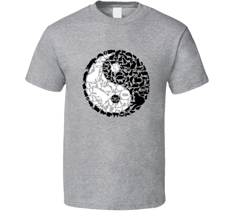Ying Yang Cat Version Funny Animal Lover Fan T Shirt