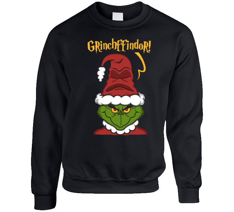 Grinchffindor Funny Harry Potter Grinch Parody Mashup Ugly Christmas Sweater Crewneck Sweatshirt