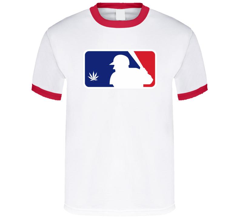 Major League Baseball Parody Logo Weed Stoner Marijuana Fan T Shirt