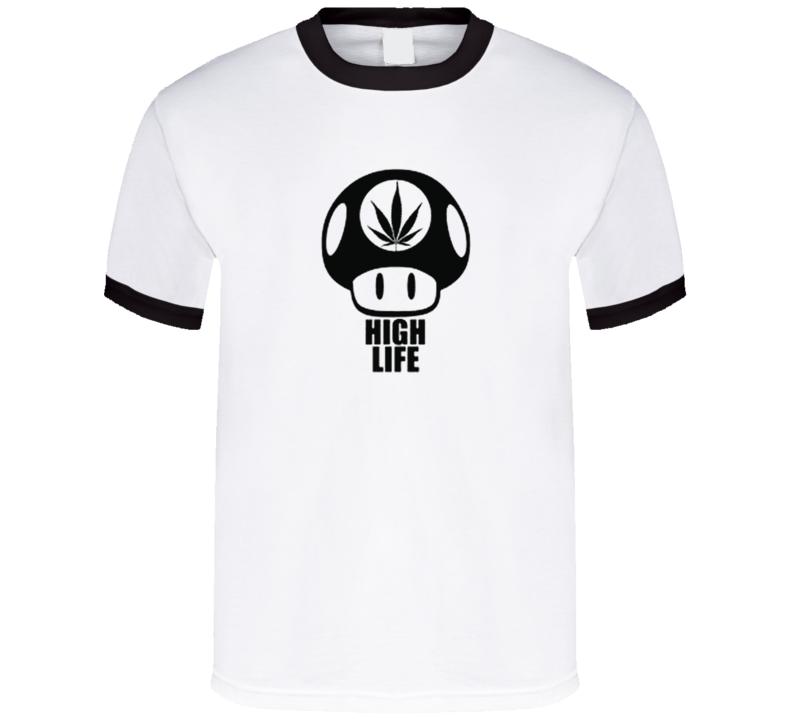 High Life Funny Mario Mushroom Cartoon Gaming T Shirt