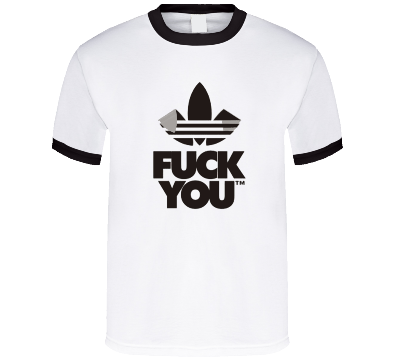 Fuck You Funny Adidas Parody Logo Middle Finger Graphic Fan T Shirt
