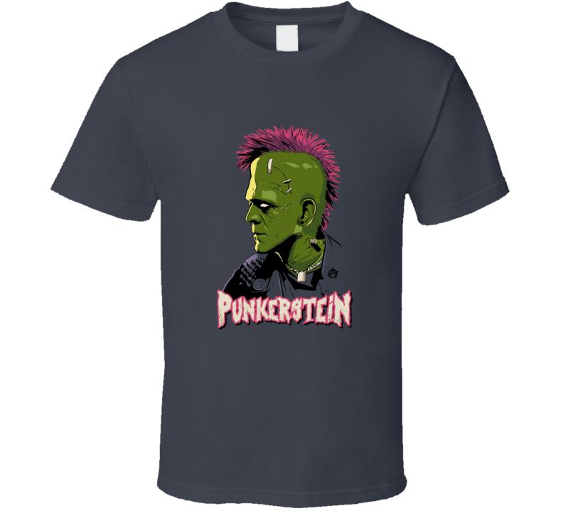 Punkerstein Funny Frankenstein Halloween Graphic Rock Music Metal Fun T Shirt