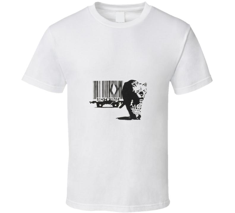 Barcode Leopard Banksy Print T-Shirt