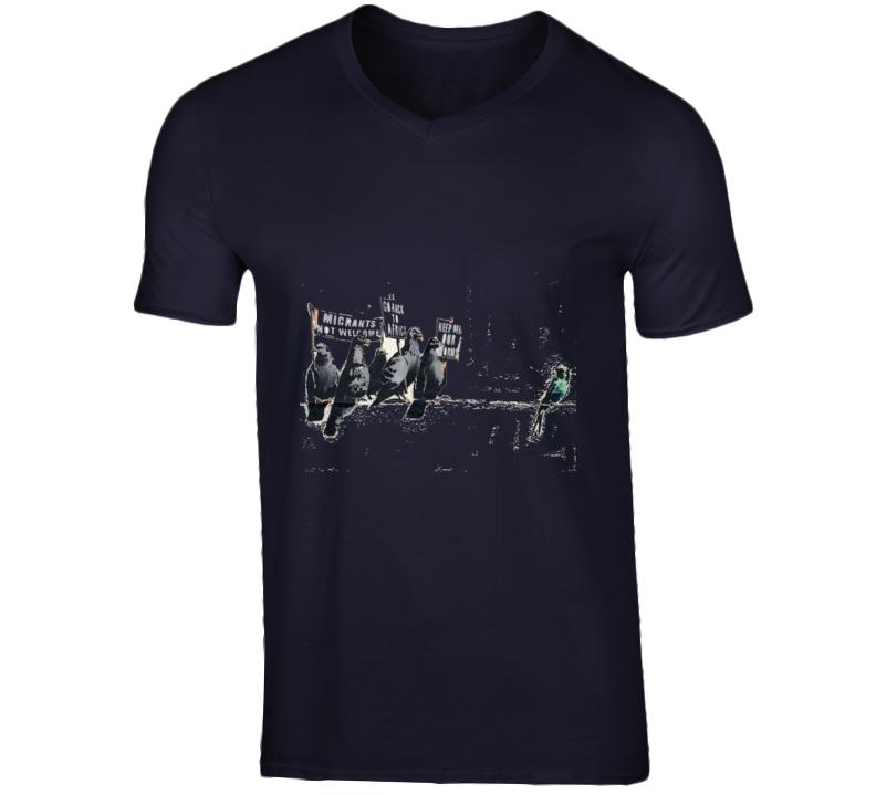 Banksy Immigration Pigeons Print T-Shirt
