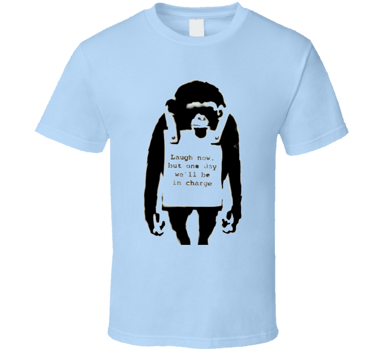 Laugh Now Monkey Banksy Print T-Shirt