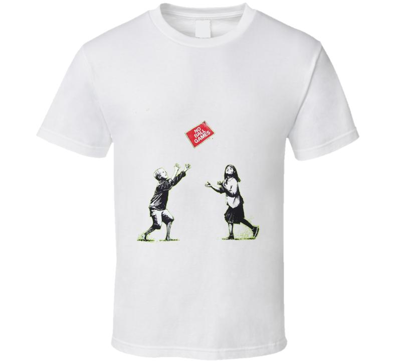 No Ball Games Banksy Print T-Shirt
