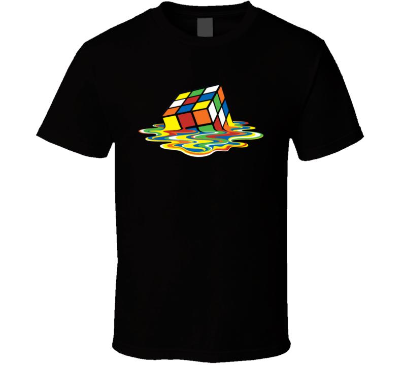 Big Bang Theory Sheldon Cooper Funny Melting Rubix Cube T Shirt