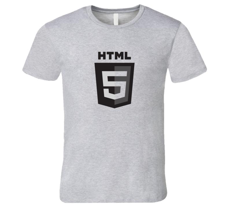 Silicon Valley HTML5 Logo Grey T-Shirt Software Developer HTML 5 tshirt coder