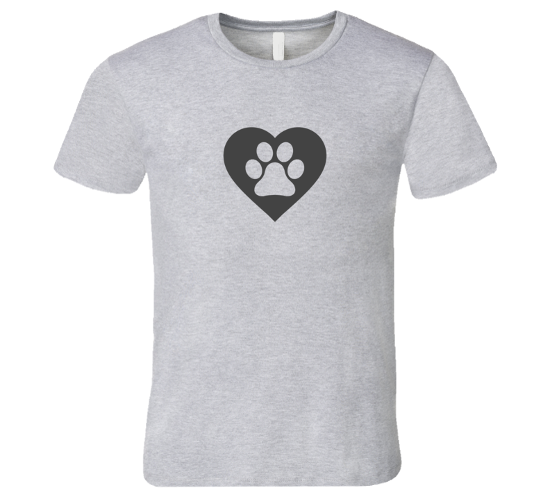I Love Dogs T-Shirt Light Paw Print Heart Tshirt