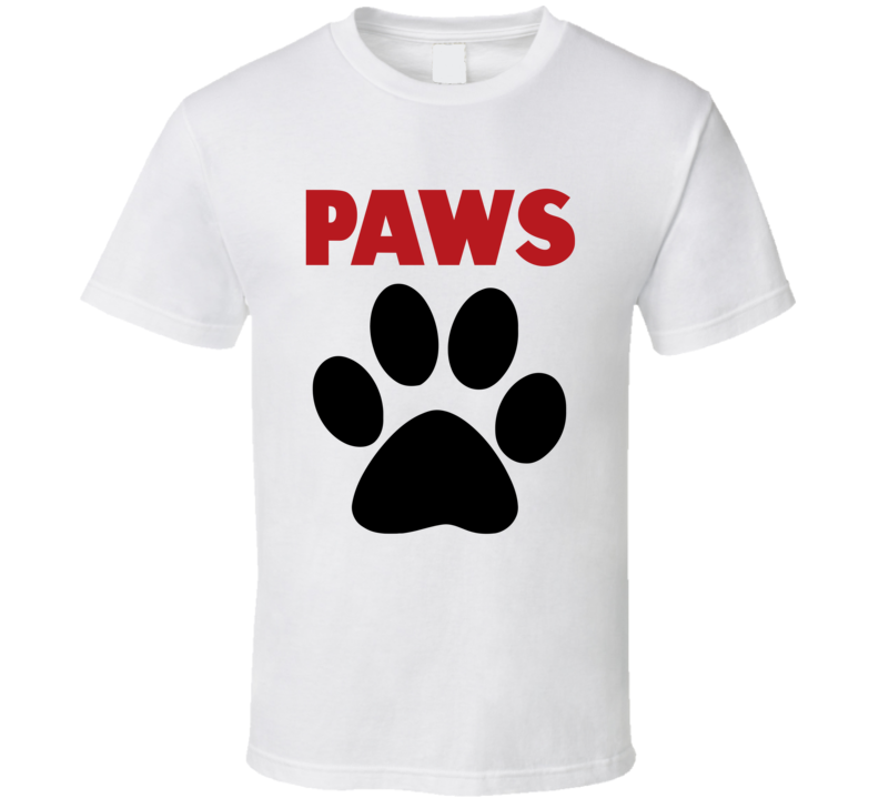 PAWS t-shirt JAWS Movie parody t-shirt Funny Jaws Paws tshirt Dog Paws tshirt