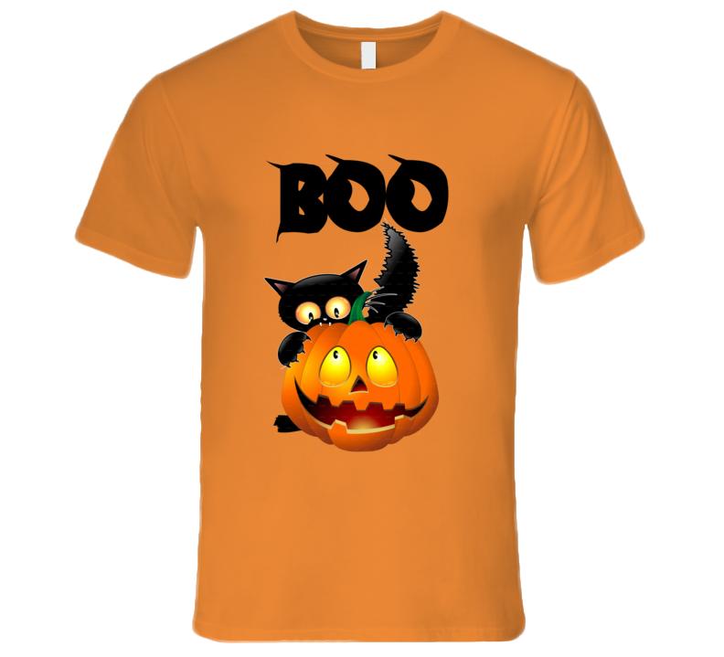 Halloween T-Shirt Cat and Pumpkin Boo T-Shirt Funny Jack O Lantern T-Shirt