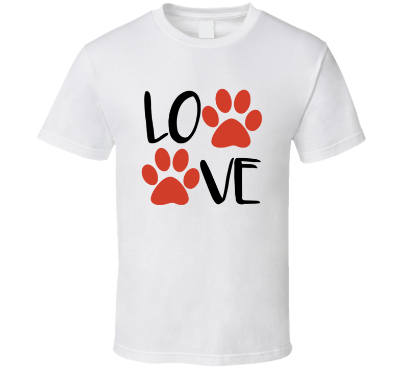 LOVE Dogs Paw Print Dog Rescue Support Awesome T-Shirt
