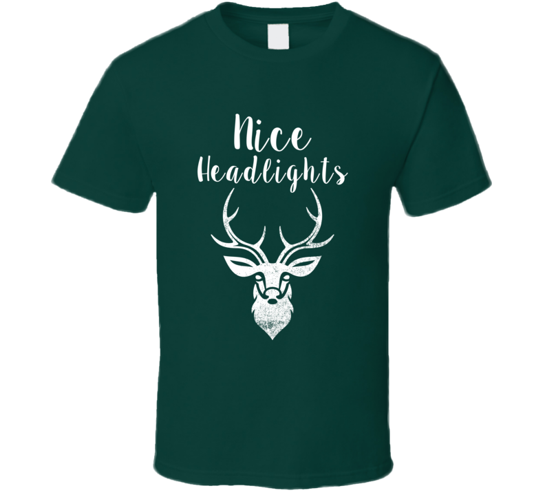Nice Headlights Deer Antlers Christmas Green Reindeer T Shirt
