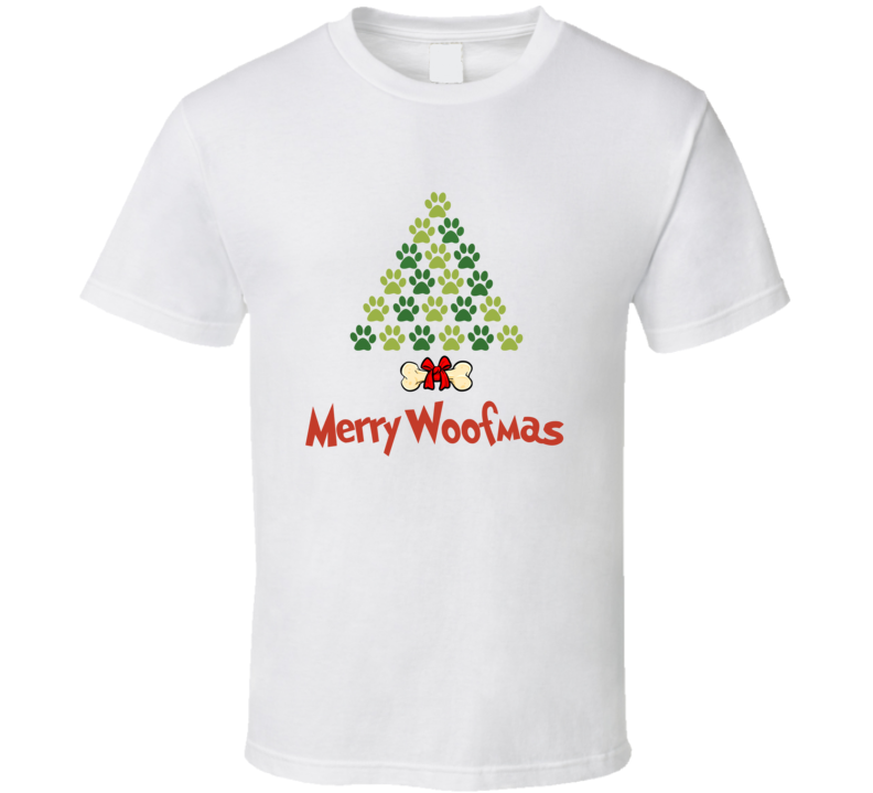 Merry Woofmas Christmas Paw Print Tree T-shirt
