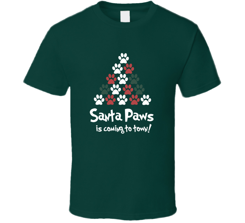 Santa Paws Is Coming To Town Christmas Puppy Paw Tree T Shirt