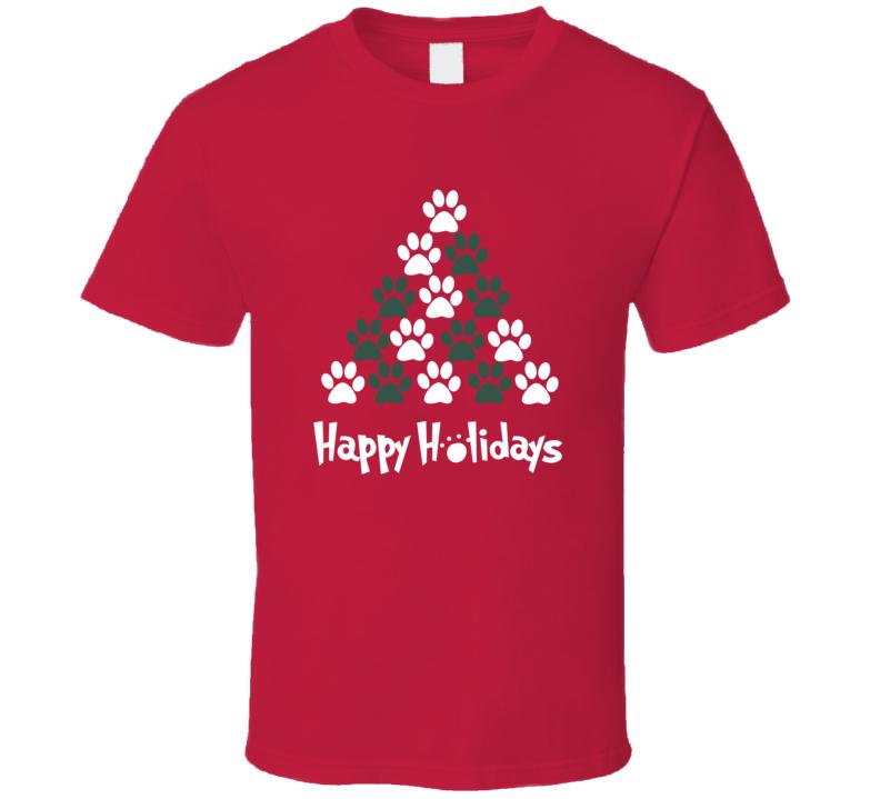 Happy Holidays Puppy Paw Print Christmas Tree Dog Love T Shirt