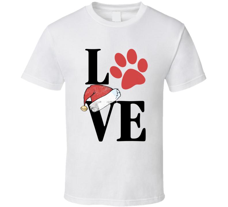 Love Christmas Paw Print Santa Hat Dog Love Rescue Xmas T Shirt