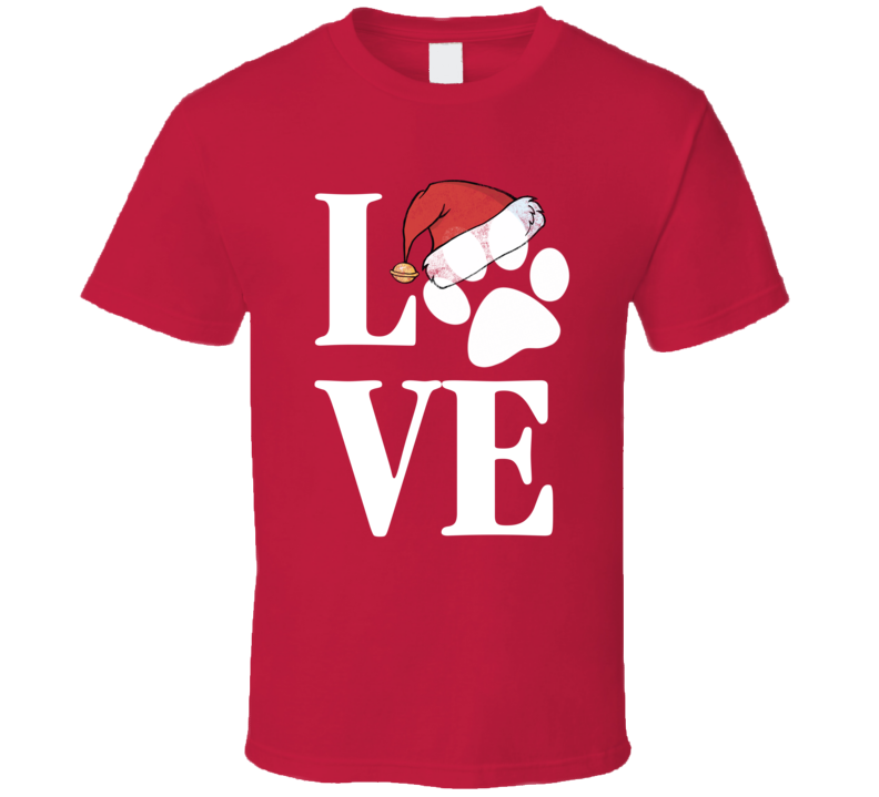 Love Christmas Paw Print Santa Hat Dog Love Rescue Xmas T Shirt