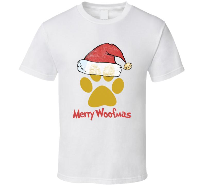 Merry Woofmas Christmas Paw Print Santa Hat Xmas Dog T-shirt