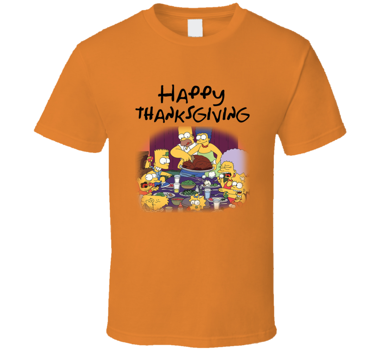 The Simpsons Happy Thanksgiving Funny Cartoon Holiday T-shirt