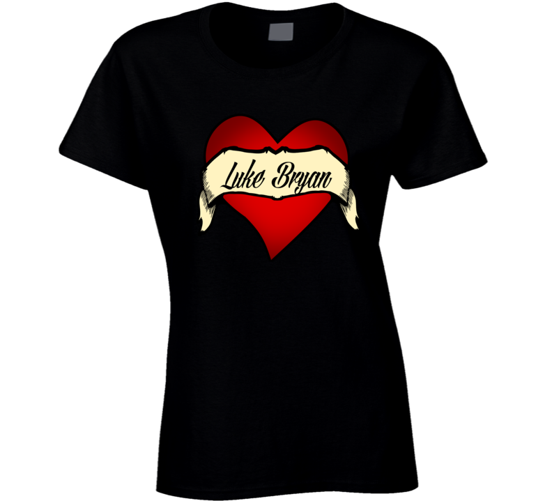I Love Luke Bryan Tattoo Heart Country Music Girl T-shirt