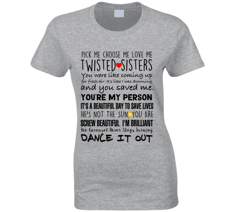 Grey's Anatomy Tv Top Quotes Ladies T-shirt