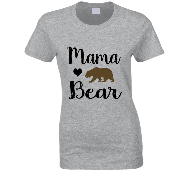 Mama Bear With Heart And Bear T Shirt