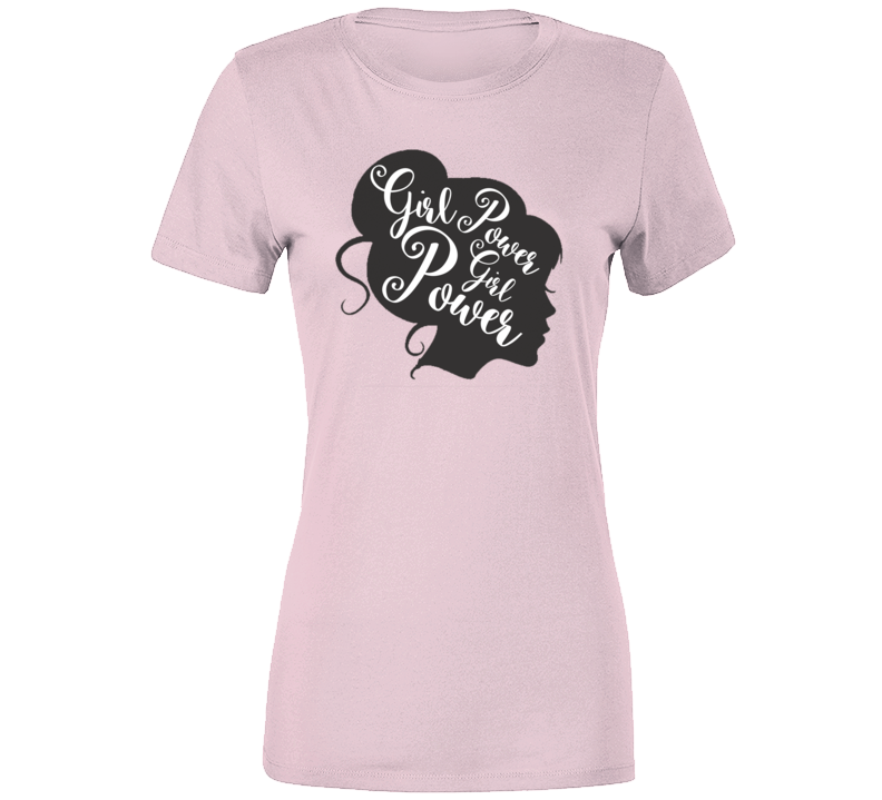 Girl Power Feminism Black Silhouette Women Pink Power T-shirt