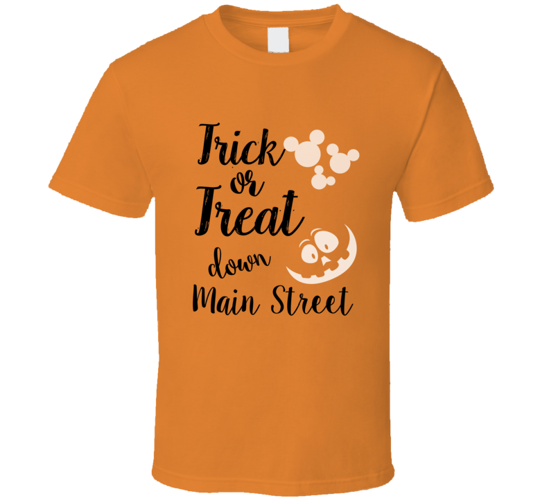 Trick Or Treat Down Main Street Mickey Ears Halloween Parade T-shirt