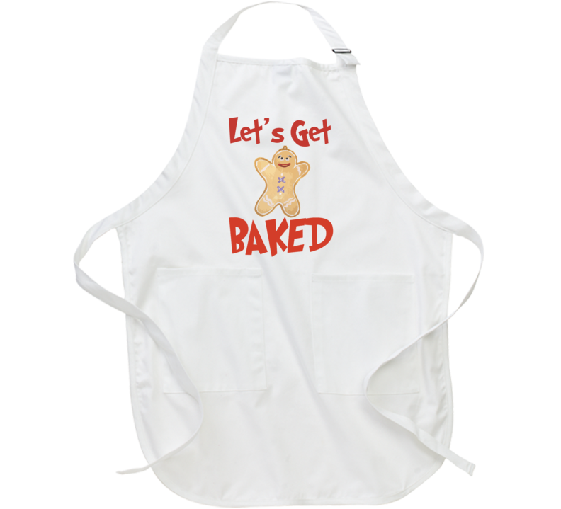 Let's Get Baked Funny Christmas Gingerbread Man Apron