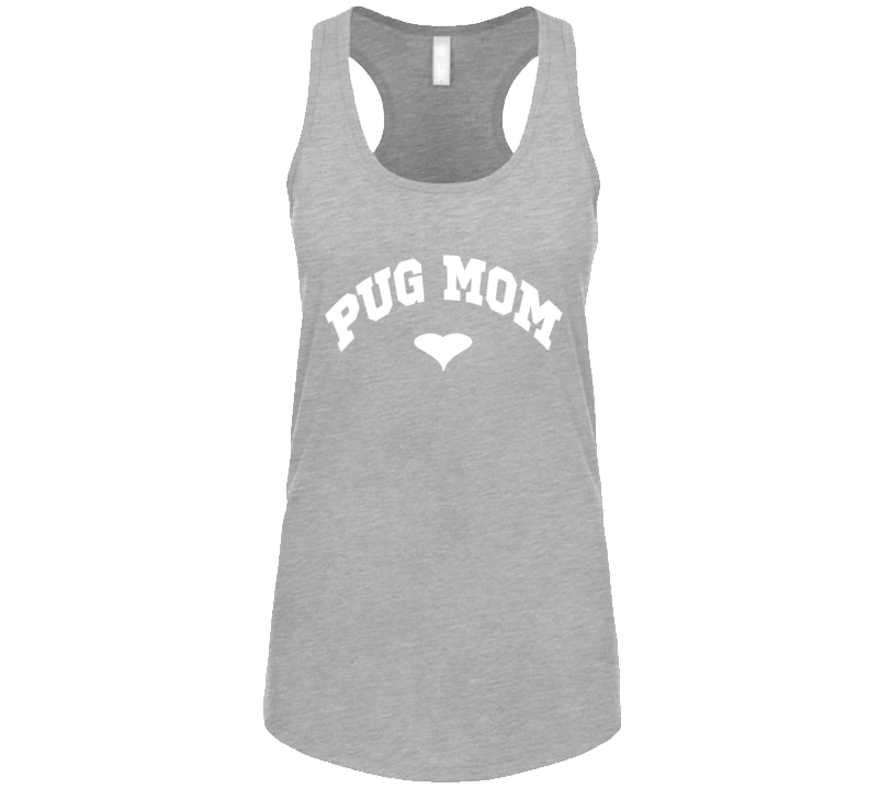 Pug Mom Heart Pug Rescue Dog Ladies Tank Tap T Shirt