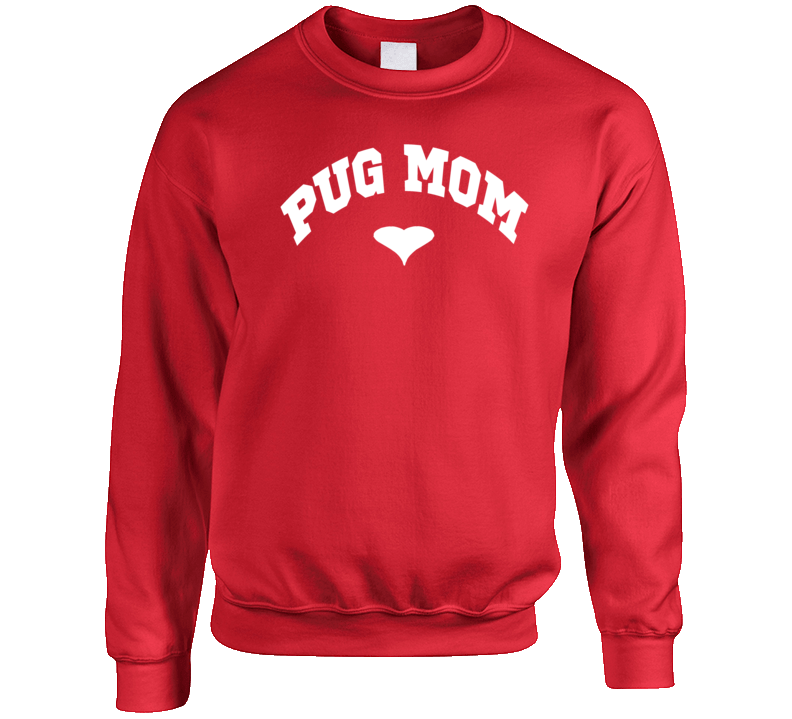 Pug Mom Heart Rescue Dog Mom Crewneck Sweatshirt T Shirt