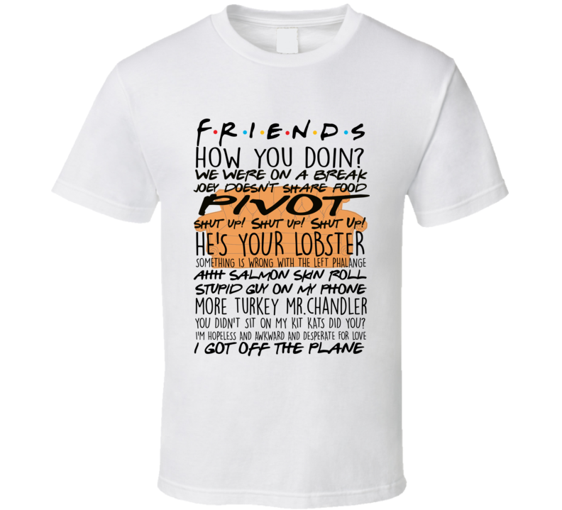 Friends Tv Show Collage Quotes Central Perk Couch T-shirt