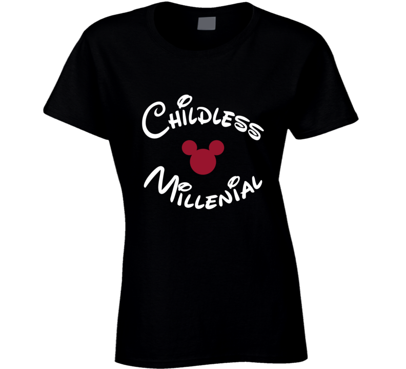 Childless Millenial Disney Mickey Ears Florida Holiday Park Ladies T Shirt