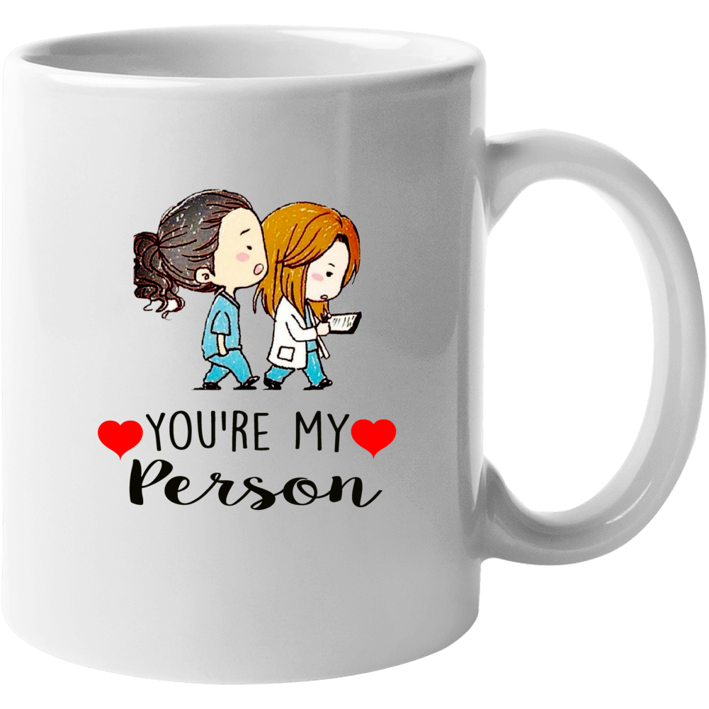 Grey's Anatomy You're My Person Cartoon Meredith Cristina Mug