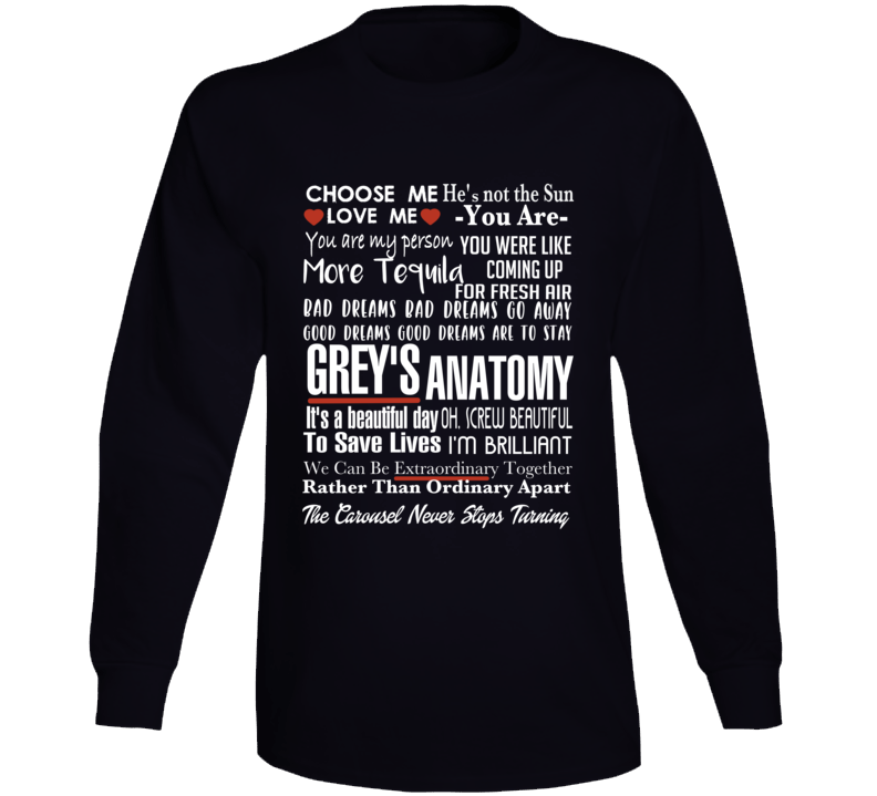 Grey's Anatomy Tv Quote Super Fan Collage Long Sleeve