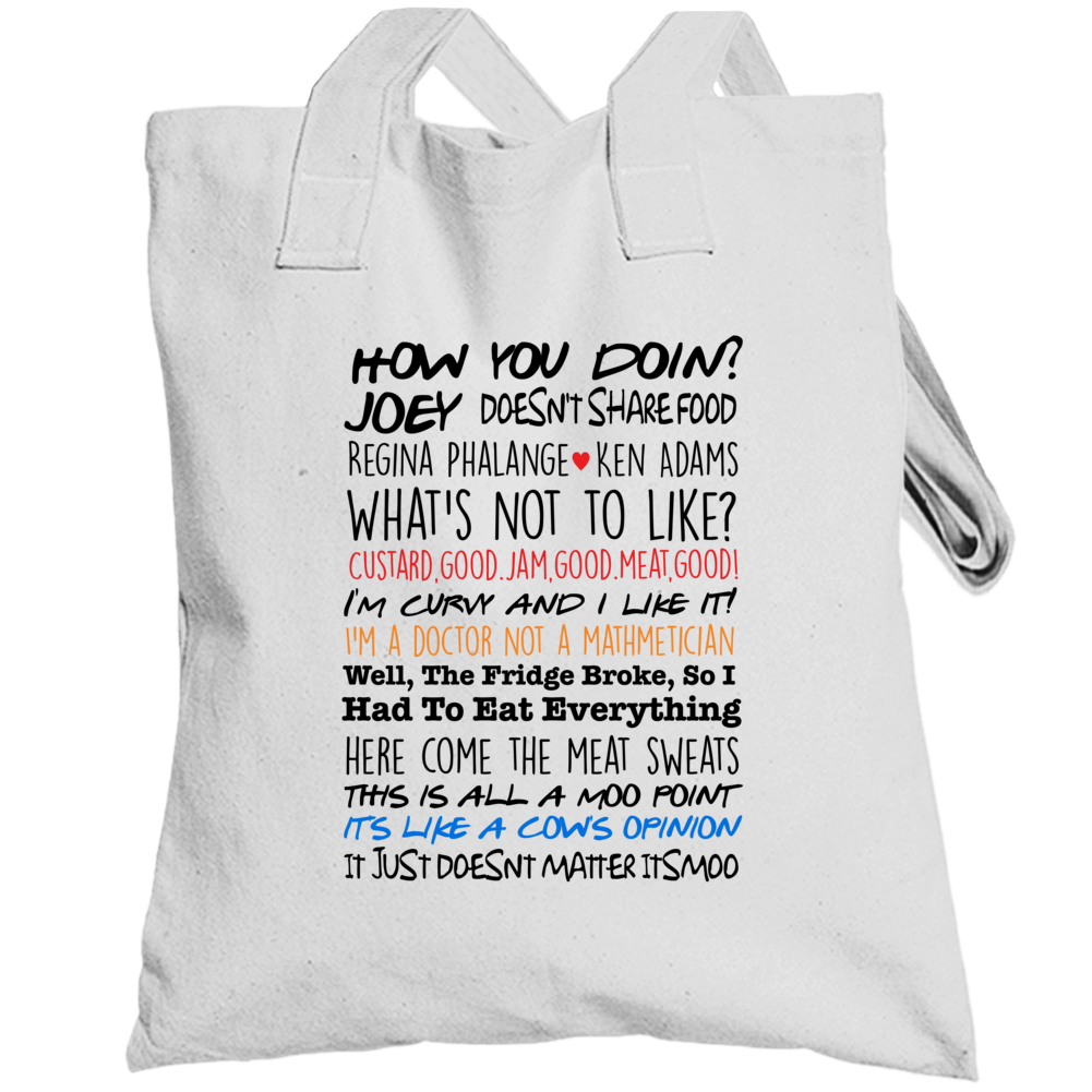 Friends Joe Tribbiani Top Quotes Collage Tv Totebag