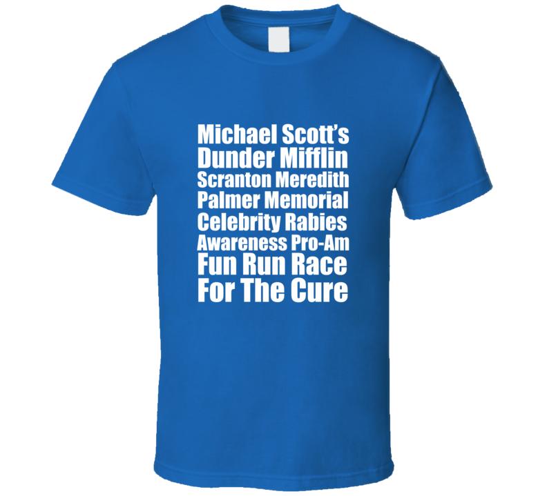 The Office Micheal Scott Meredith Palmer Rabies Fun Run Race T Shirt