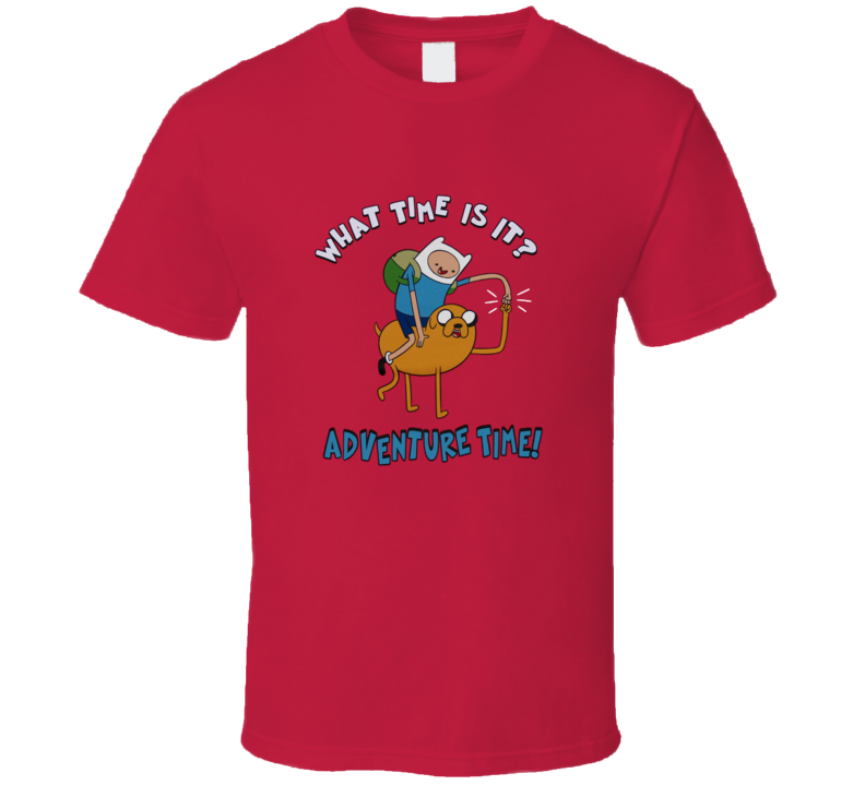 Adventure Time What Time is it Finn and Jake Red T Shirt