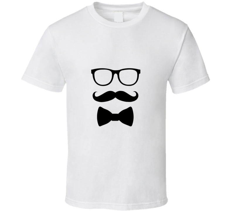 Hipster Glasses Mustache Bow Tie  T Shirt