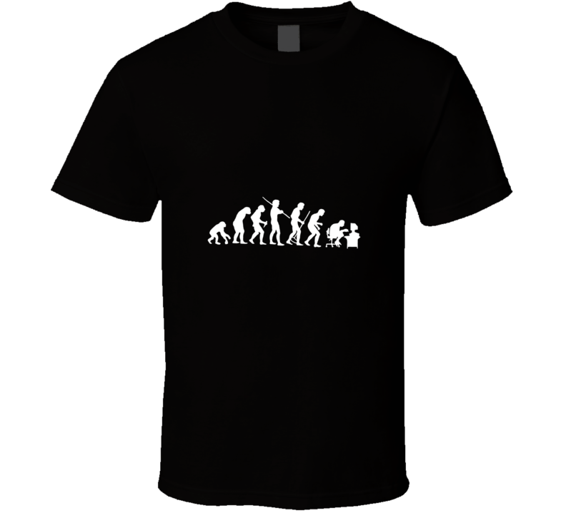 Human Evolution Funny Ape to Computer Geek T Shirt