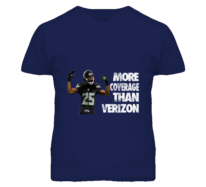 More Coverage than Verizon Richard Sherman Seattle Seahawk Football  T Shirt