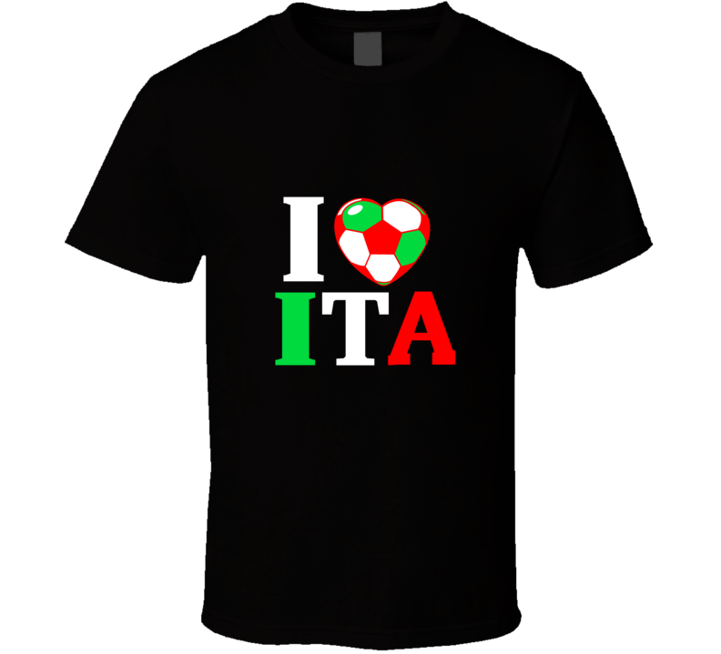 I Heart ITA Italy World Cup 2014 Soccer Country Flag  T Shirt