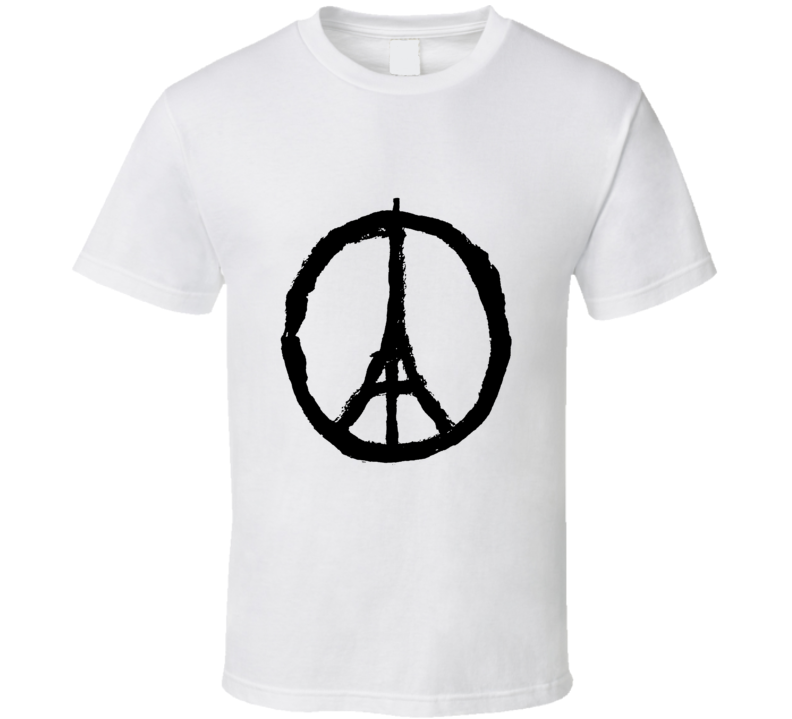 Pray for Paris Peace Sign Eiffel Tower France T Shirt